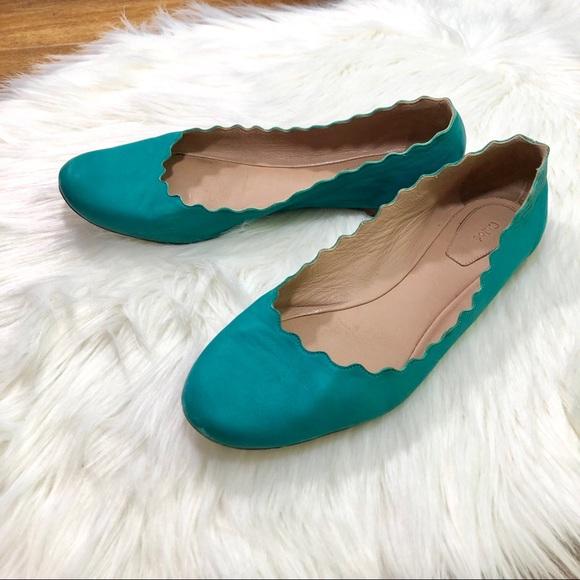 0e77c4727 Chloe Shoes   Lauren Flat Teal Scalloped Ballerina Sz 8   Poshmark